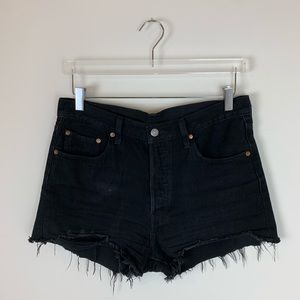 Levi's 501 High Rise Black Shorts Raw Hem